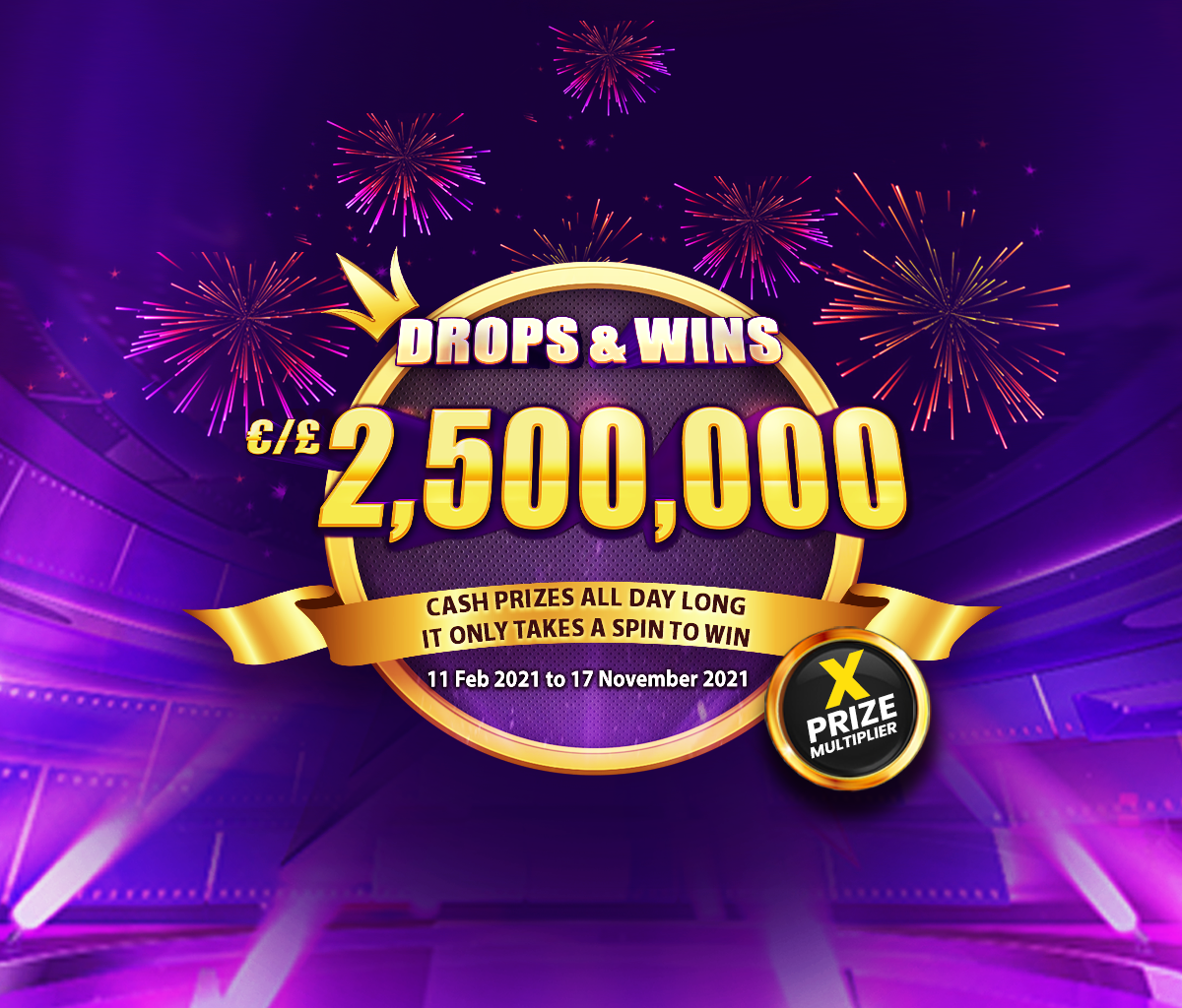 Drops and Wins tablet banner