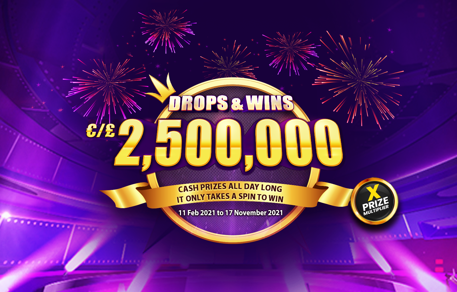 Drops and Wins desktop banner