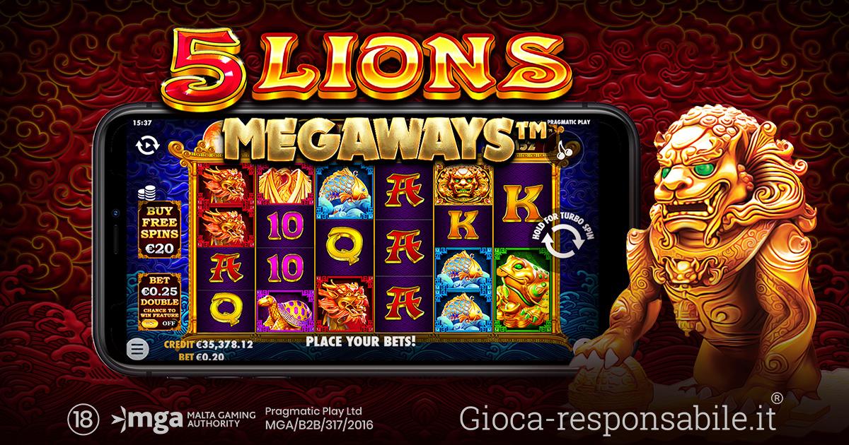 PRAGMATIC PLAY CI RIPORTA IN ASIA CON LA SLOT ONLINE 5 LIONS MEGAWAYS™
