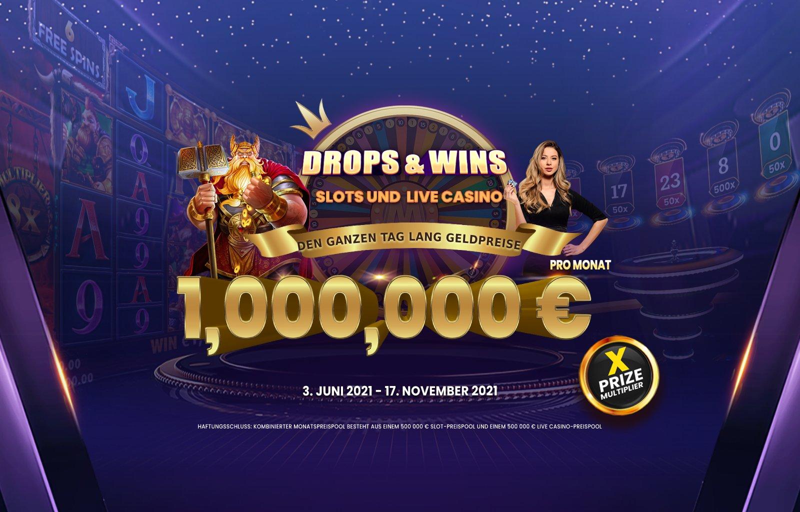Drops and Wins desktop banner