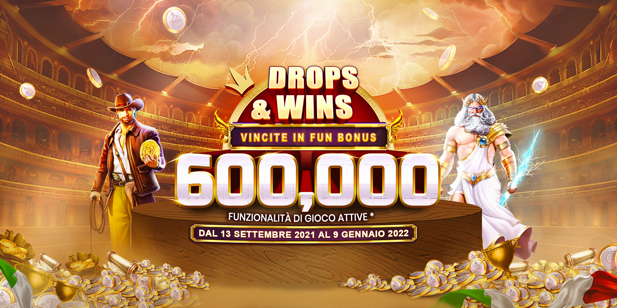 Drops and Wins ultrawide banner